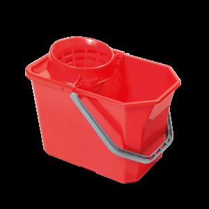 VDM szögletes felmosó vödör kicsavaró kosárral piros 15l