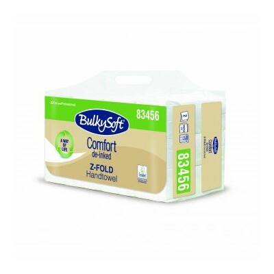 BulkySoft comfort Z hajtogatott kéztörlő 2rtg 24x21,5cm 200lap fehérített 12cs/gyűjtő