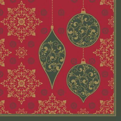 Duni szalvéta Christmas Deco Red 3rtg 33x33cm 12x20db/gyűjtő
