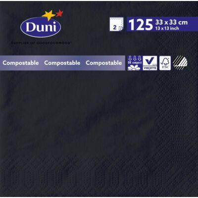 Duni szalvéta fekete 2 rétegű 33*33cm 16*125db