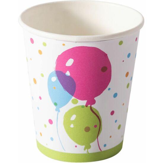 Duni papírpohár Splash balloons 200ml 16x10db/gyűjtő