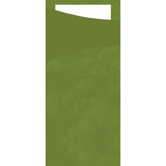 Duni sacchetto Leaf green/fehér 19x8,5cm 5x100db/gyűjtő