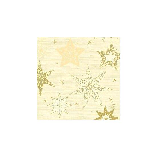 Duni szalvéta Star stories cream 3 rétegű 33x33cm 10x50db/gyűjtő