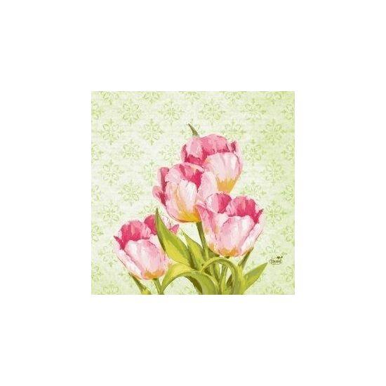 Duni szalvéta Love tulips 3rtg 33x33cm 10x50db/gyűjtő