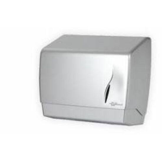 Bisk M-hajtogatott kéztörlő adagoló ABS műanyag silver satin inox 500lapos 6db/gyűjtő