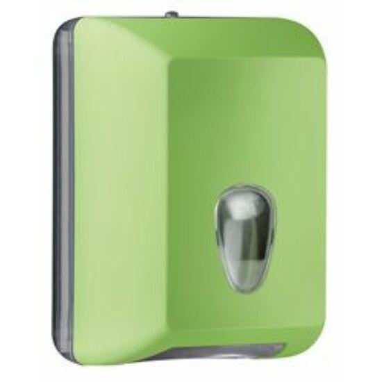 Trend hajtogatott eü. papír adagoló, 350lapos, ABS, soft touch, zöld