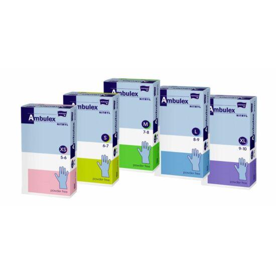 Ambulex nitril púdermentes vizsgálókesztyű fehér XL-es 10x100db/gyűjtő