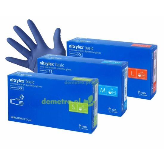 Nitrylex Basic púdermentes nitril vizsgálókesztyű kék L-es 10x100db/gyűjtő