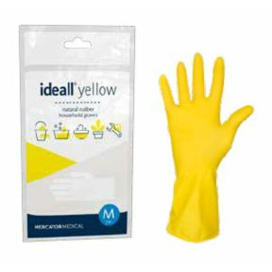 Ideall yellow bolyhozott gumikesztyű sárga XL-es 240pár/gyűjtő