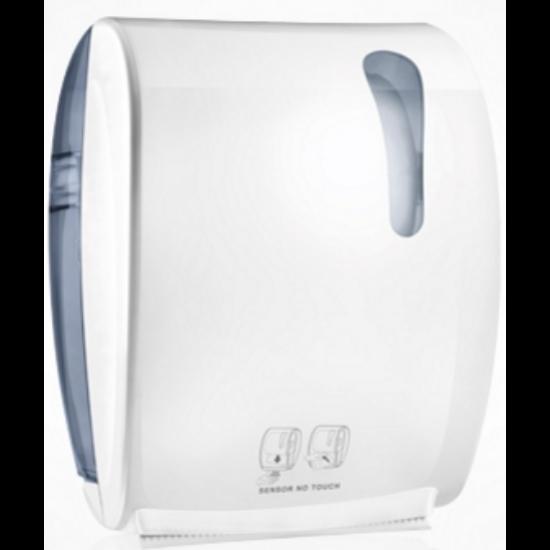 Elektromos tekercses kéztörlő adagoló, soft touch, fehér/átlátszó