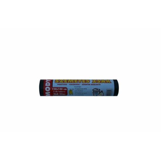 Szemeteszsák 120x140cm 260L 5db/tekercs fekete 40my