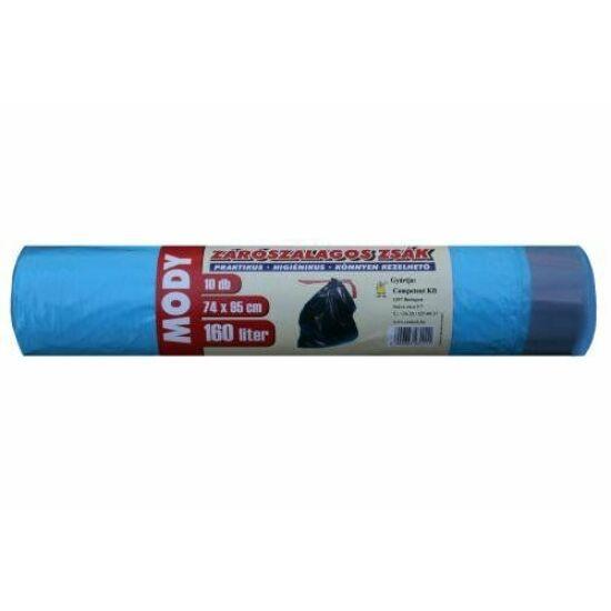 Szemeteszsák zárószalagos 74x95cm 160L 10db/tekercs kék 19my