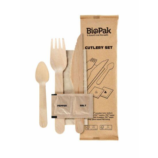 Duni BioPak fa evőeszköz csomag Waxed Wood 160mm 1x250db/gyűjtő