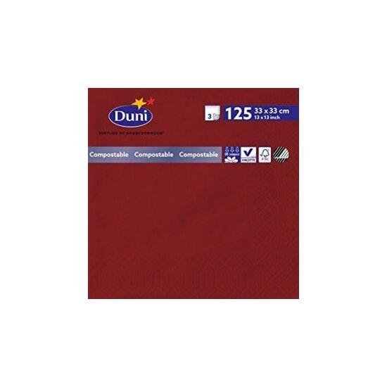 Duni szalvéta bordó 3 rétegű 33x33cm 8x125db/gyűjtő